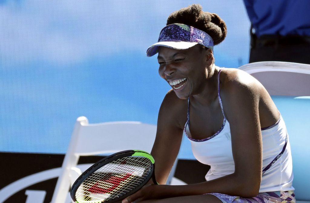 Venus Williams aus den USA jubelt nach ihrem Sieg gegen Vandeweghe aus den USA. Foto: AP