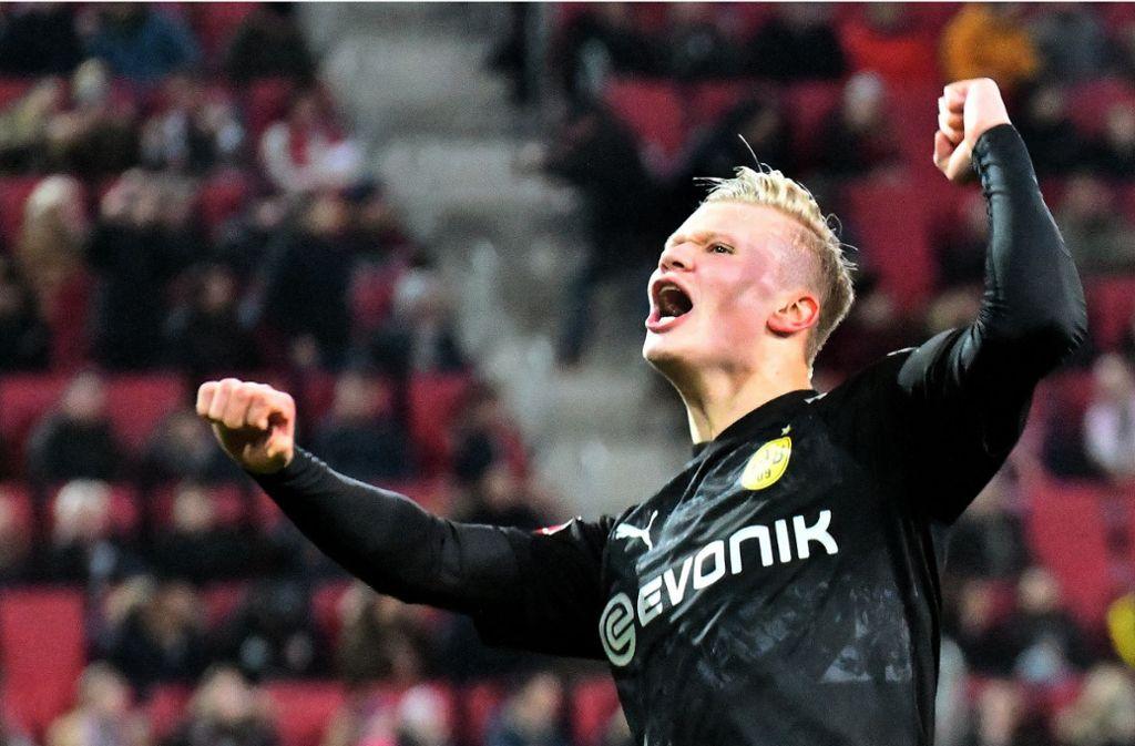 Erling Haaland ist ein formidabler Einstand für Borussia Dortmund gelungen – mit drei Treffern innerhalb von 20 Minuten Foto: dpa/Stefan Puchner