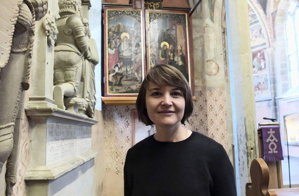 Britta Feuersinger ist neue Pfarrerin in Mühlhausen. Ihre Investitur in der Veitskapelle ist am Palmsonntag, 14. April. Foto: Iris Frey