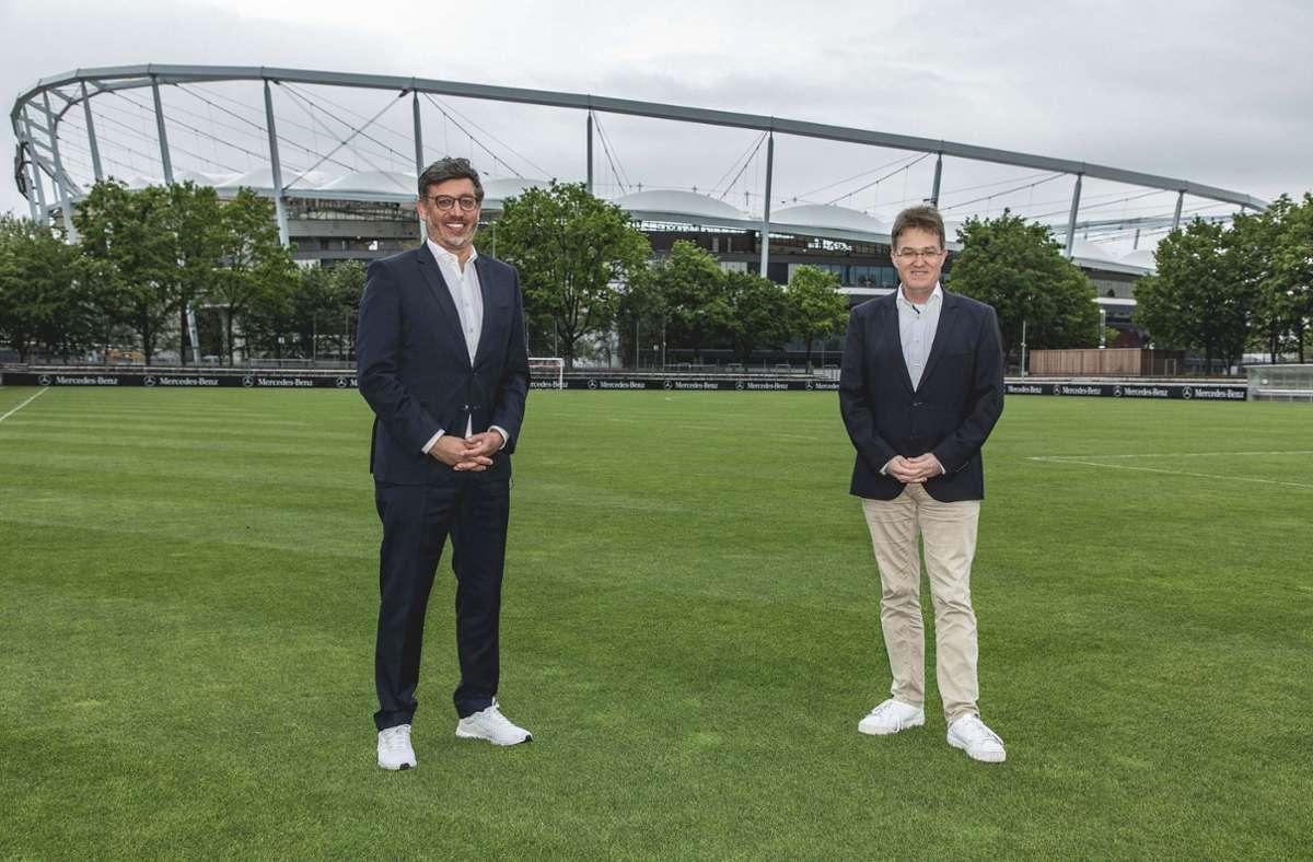 Claus Vogt (links) und Pierre-Enric Steiger kandidieren beim VfB Stuttgart. Foto: VfB Stuttgart