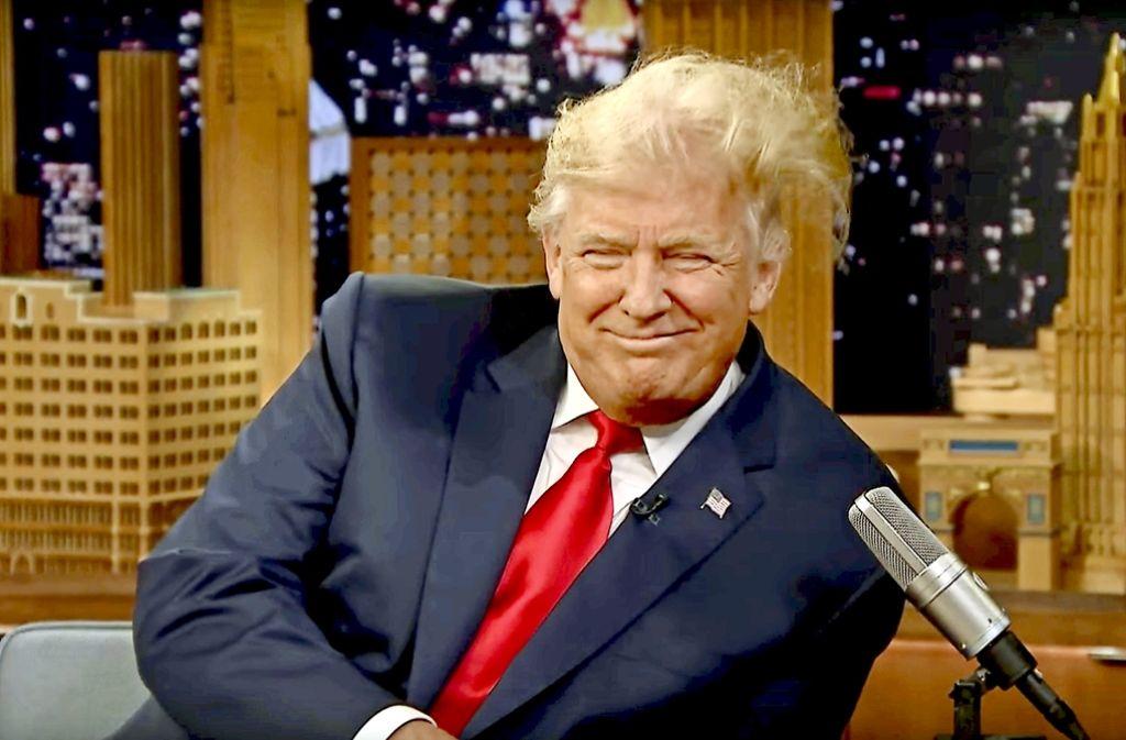 "Haarige Angelegenheit: Donald Trump in Jimmy Fallons ""Tonight Show"". Foto: NBC"