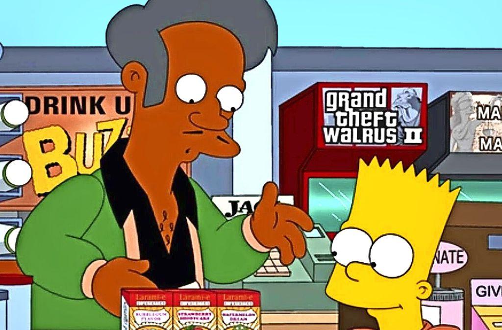 Apu, der hier  Bart Simpson seine Waren anpreist, stößt manchem sauer auf. Foto: Fox