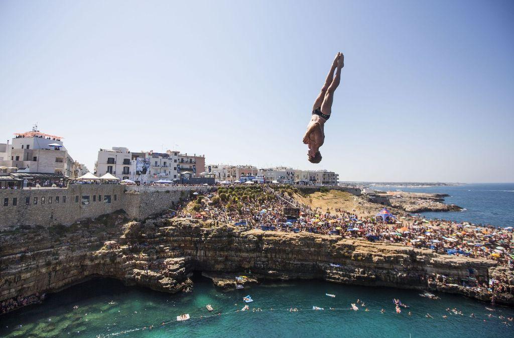 Der Amerikaner Andy Jones beim Sprung aus 27 Metern. Foto: Getty Images Europe