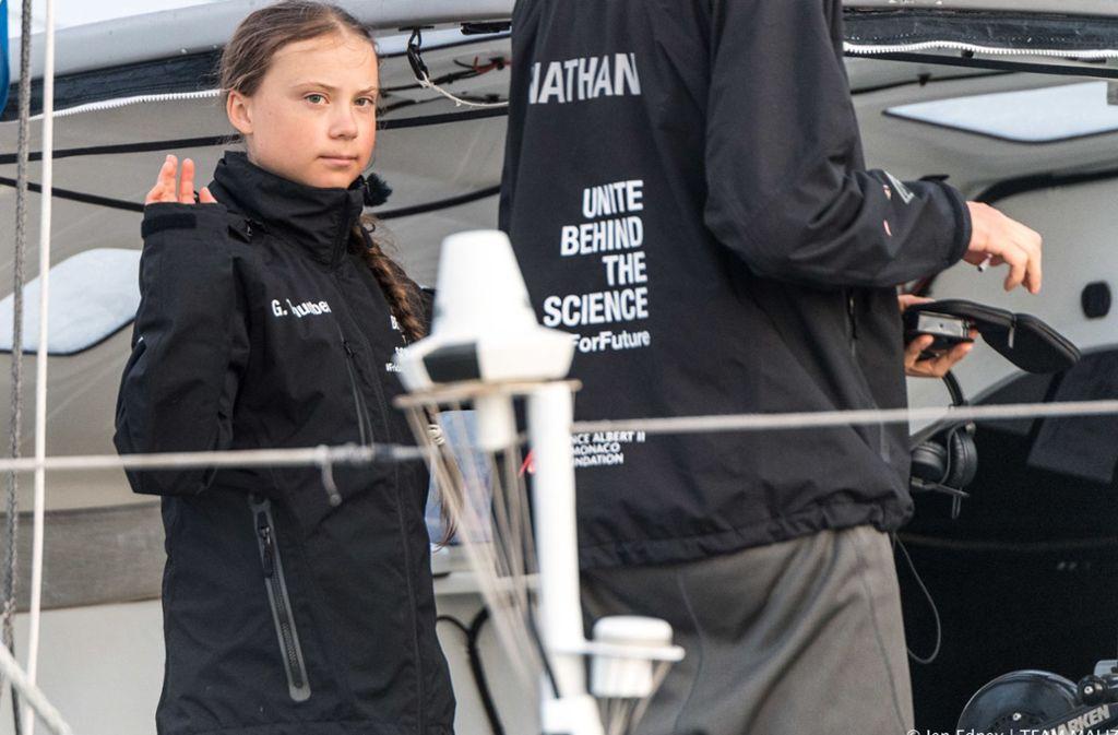 Greta Thunberg bei ihrer Ankunft in den USA. Die Jugendliche ist innerhalb weniger Monate auf der ganzen Welt bekannt geworden. Unsere Bilderstrecke zeigt Hintergründe zu Greta Thunberg und ihre wichtigsten Stationen. Foto: dpa