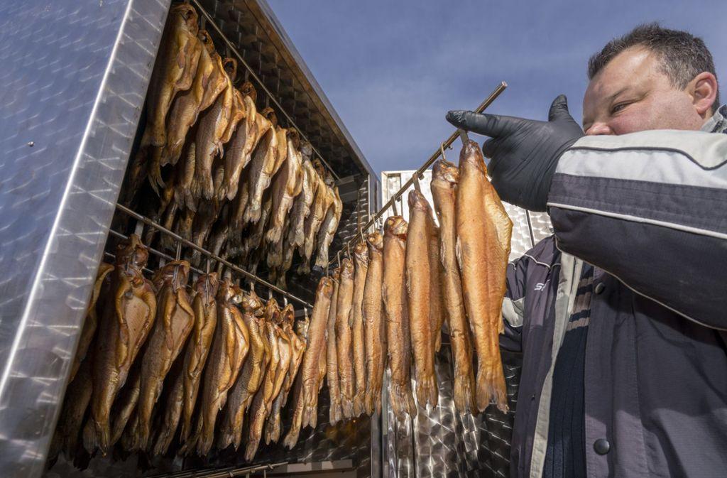 Gerade geräuschert: Jens Völker holt die Forellen nach zweieinhalb Stunden aus dem Ofen. Foto: factum/Weise