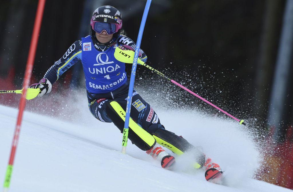 Frida Hansdotter wurde 2018 Slalom-Olympiasiegerin. Auf dem Foto sieht man sie beim Frauen-Weltcup im österreichischen Semmering im vergangenen Dezember. Foto: AP