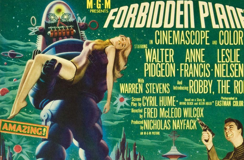 """Typische Schreckenswerbung: Robby der Roboter wurde 1956 auf den Plakaten zu """"Forbidden Planet"""" als jungfrauenverschlingendes Maschinenmonster präsentiert. Foto: MGM"""