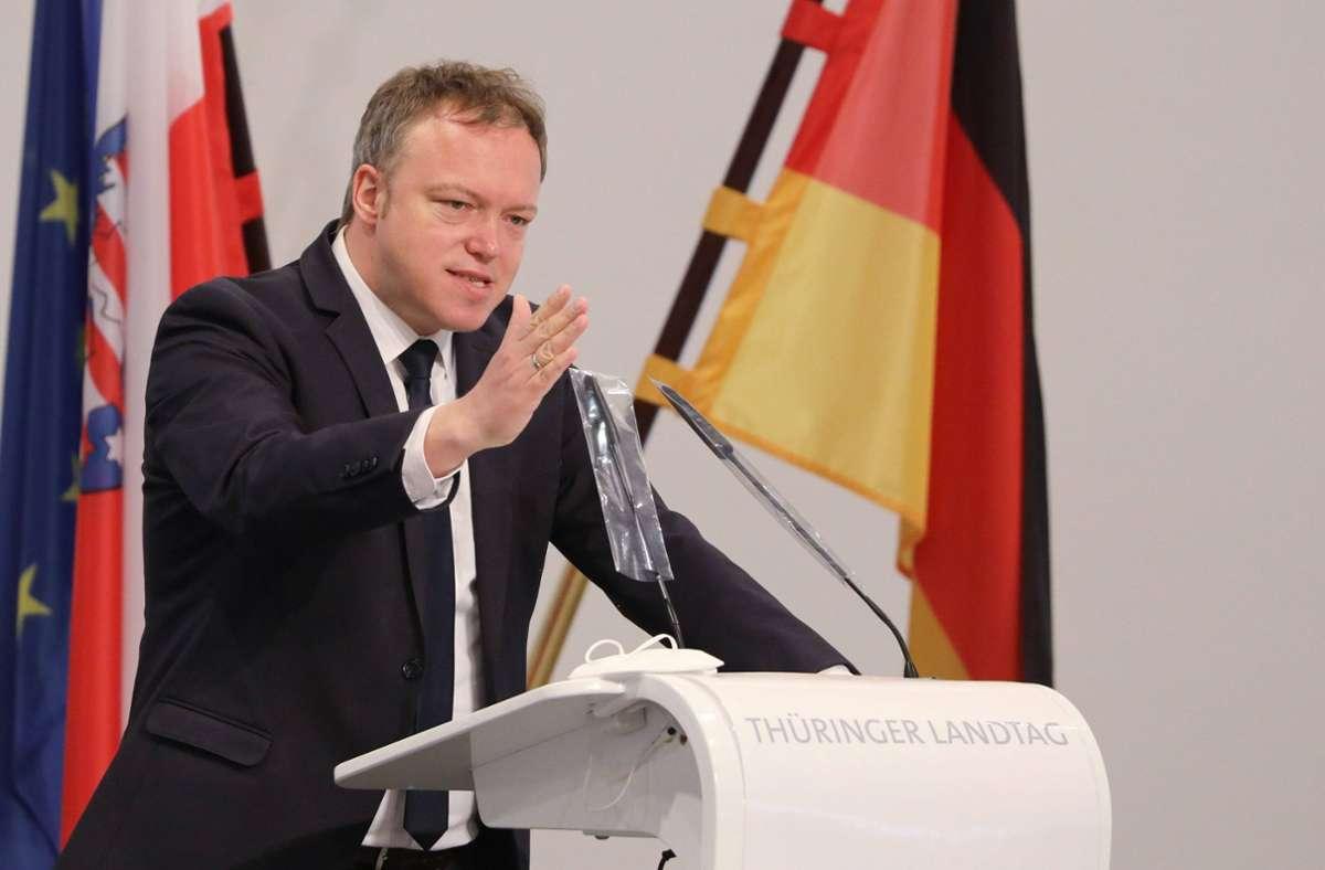 Mario Voigt, Chef der CDU-Landtagsfraktion in Thüringen, hält an Maaßen fest. Foto: imago images/Karina Hessland
