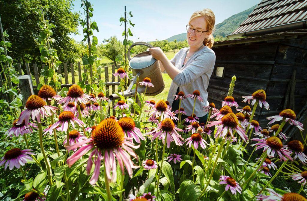 Judith Rühle pflegt die Gärten. Foto: Steinert