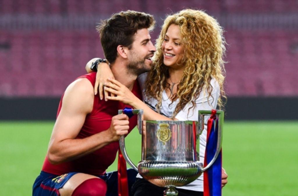 Pique vom FC Barcelona mit seiner Frau Shakira nach dem Pokalsieg am 30. Mai 2015. Foto: Getty Images Europe