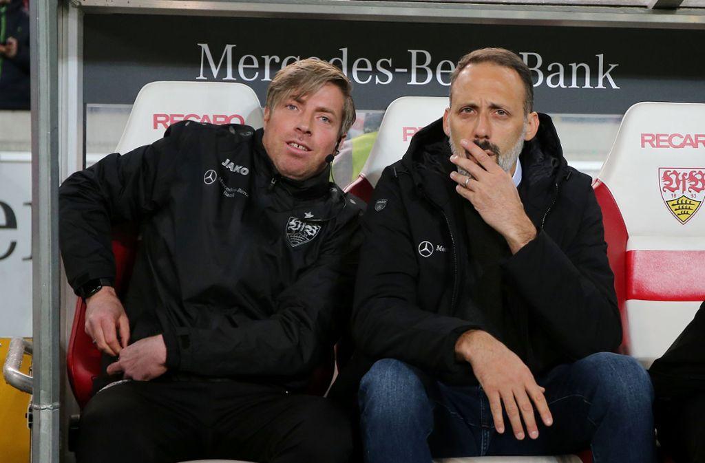Michael Wimmer (li.) ist beim VfB Stuttgart Co-Trainer von Pellegrino Matarazzo – und beginnt nun seine Ausbildung zum Fußballlehrer. Foto: Baumann