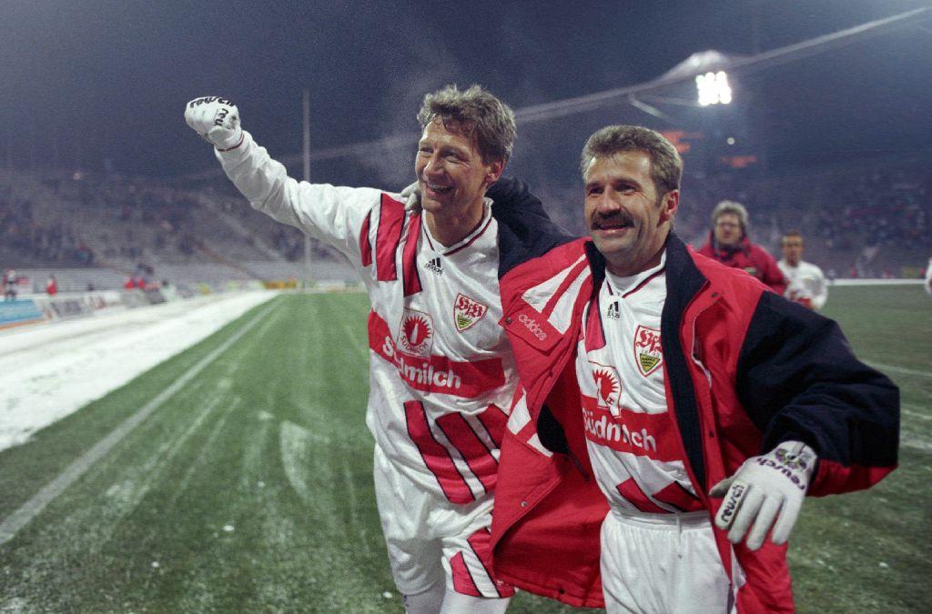 Im Jahr 1994 konnten Guido Buchwald (li.) und Fritz Walter nach Spielschluss jubeln. Foto: Pressefoto Baumann