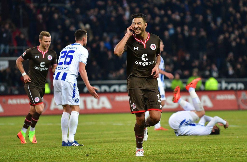Der FC St. Pauli hat den KSC mit 5:0 besiegt. Foto: Bongarts
