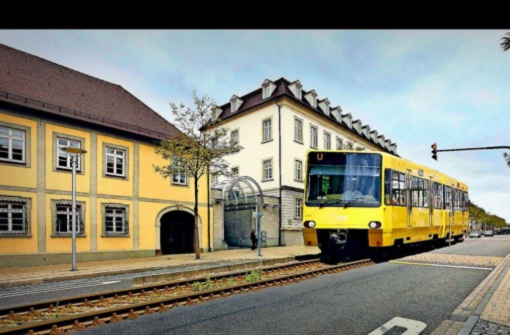 Eine Stadtbahn in der Ludwigsburger Wilhelmstraße: womöglich wird diese Montage nie Realität. Denn die SSB favorisieren eine andere Strecke. Foto: factum/Archiv Montage: StZ