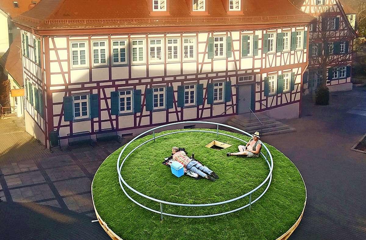 """So soll es einmal aussehen: """"Die Insel"""" wird ein grünes Refugium mitten auf dem Laien. Foto: Stadt Ditzingen"""