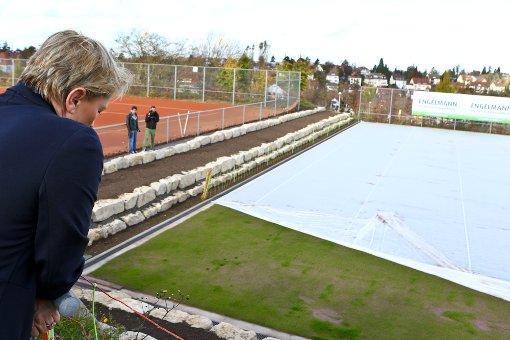 Der Bau der Rasenplätze beim TC Weissenhof schreitet voran