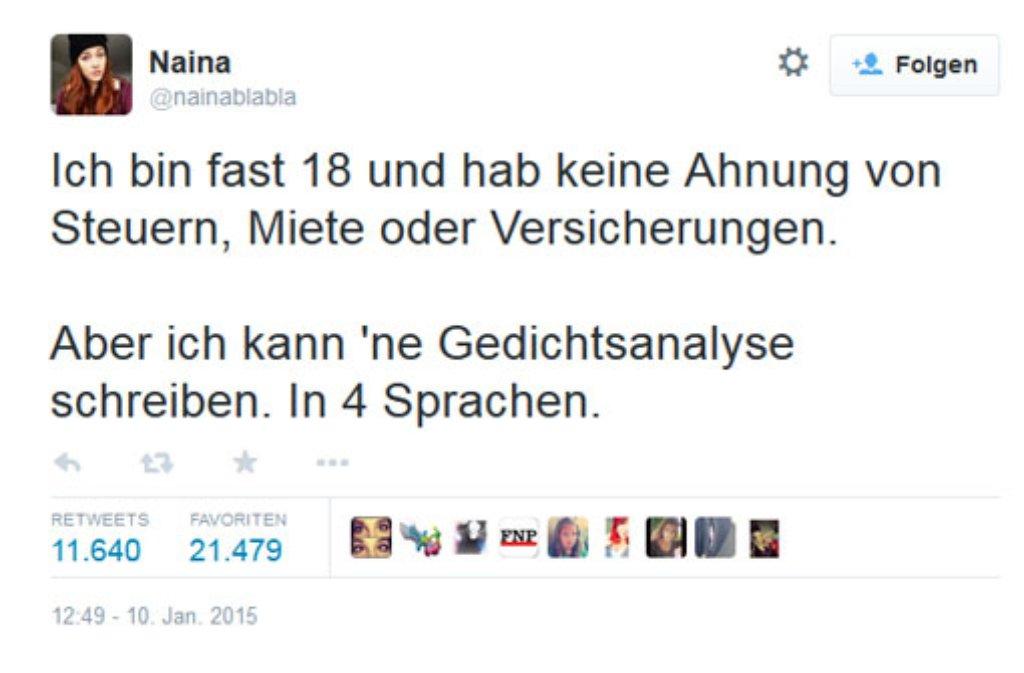 Der Tweet von @nainablabla hat im Netz eine Debatte über die Schwerpunkte im Schulunterricht ausgelöst. Foto: twitter.com/nainablabla