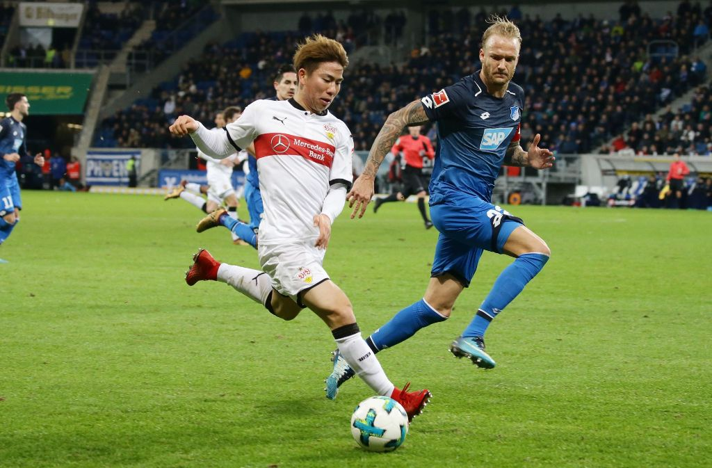 Takuma Asano sollte für den VfB Stuttgart gegen die TSG 1899 Hoffenheim ein Tor schießen – doch das hat nicht geklappt. Foto: Pressefoto Baumann