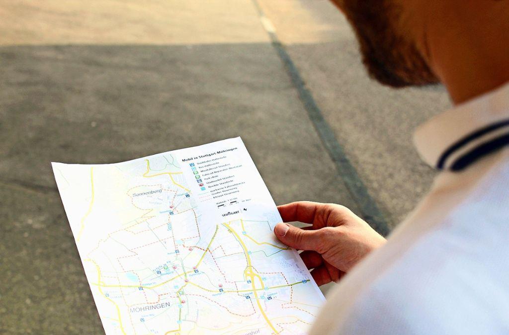 Die Mobilitätskarte gibt Infos zu ÖPNV, Fahrradstrecken und mehr. Foto: Jacqueline Fritsch