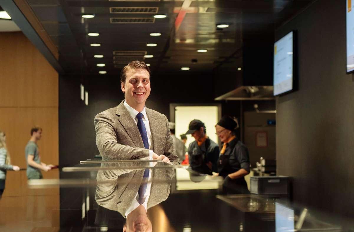 Neues Geschäftsmodell: Sebastian Finkbeiner in der Kantine Foto: Traube Tonbach