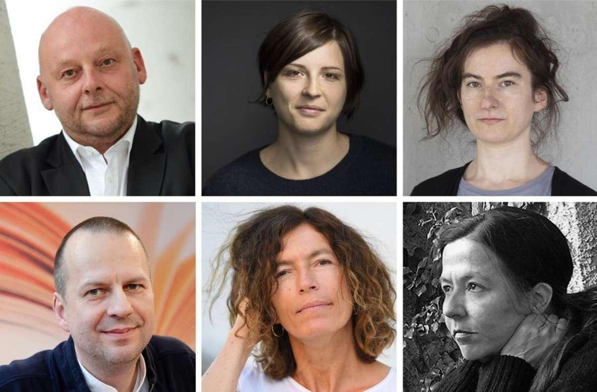 Zwei Männer, vier Frauen: Thomas Hettche, Dorothee Elmiger, Deniz Ohde, Christine Wunnicke, Anne Weber, Bov Bjerg (von links oben im Uhrzeigersinn). In unserer Bildergalerie finden Sie die dazugehörigen Romane. Foto: /dpa
