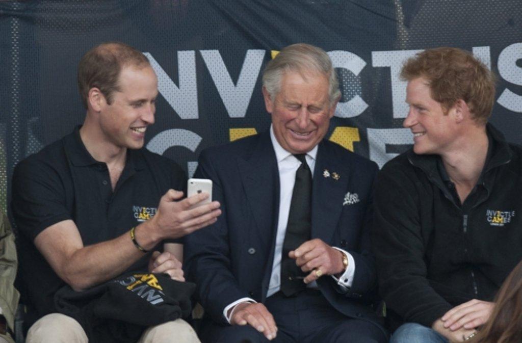 Drei Prinzen bei den Invictus Games: William, Charles und Harry (von links).  Foto: EPA