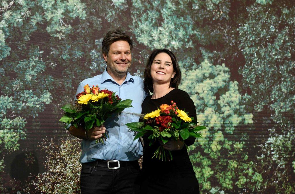 Seit der Wahl der Doppelspitze Habeck/Baerbock sind die Umfragewerte der Grünen auf 20 Prozent und mehr gestiegen. Foto: AFP/INA FASSBENDER