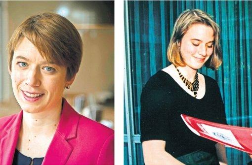 Zwischen den beiden Bildern liegen 22 Jahre: Andrea Lindlohr heute und im Jahr 1994, wie sie ihr Abiturszeugnis in Empfang nimmt. Foto: Michael Steinert
