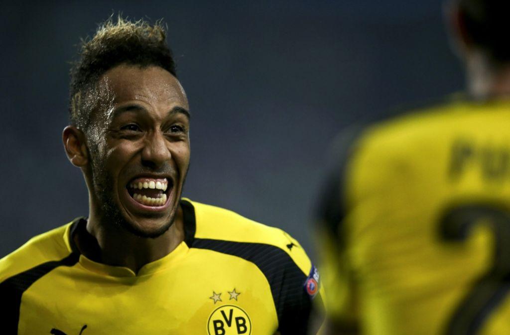 Pierre-Emerick Aubameyang erzielt mit seinem Treffer die 1:0-Führung für Dortmund. Foto: dpa