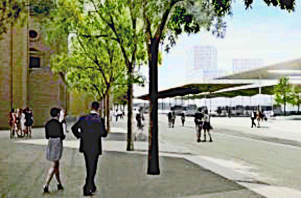 Ein erster Blick auf den möglichen neuen Busbahnhof, wie er im Jahr 2020 aussehen könnte. Foto: Stadt Ludwigsburg