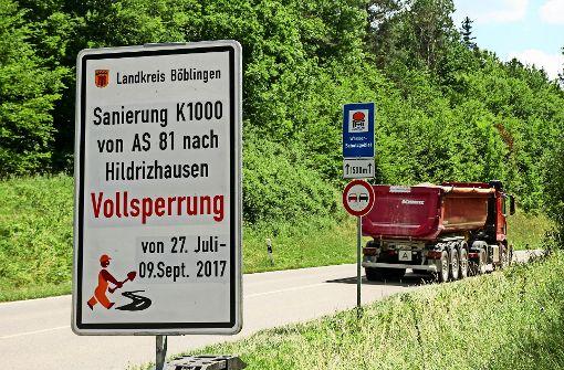 Zufahrt zur Autobahn 81 in  Ferien dicht