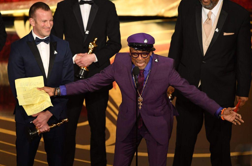 """Regisseur Spike Lee erhielt den Oscar für die Drehbuch-Adaption von """"BlacKKKlansman. Foto: AFP"""