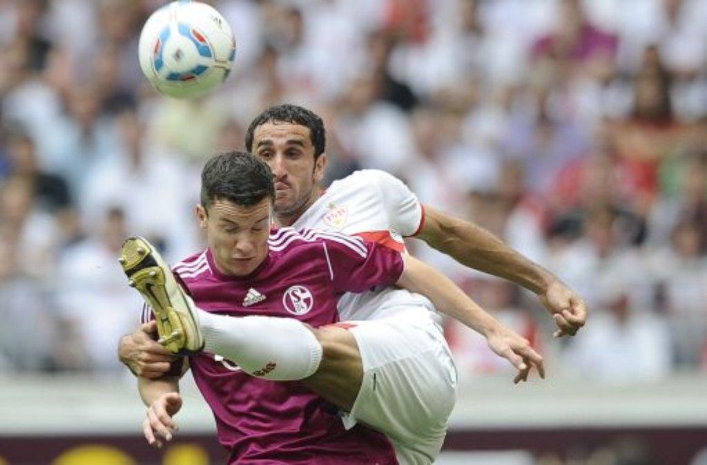Stuttgarts Cristian Molinaro und Schalkes Alexander Baumjohann kämpfen um den Ball.  Foto: dapd