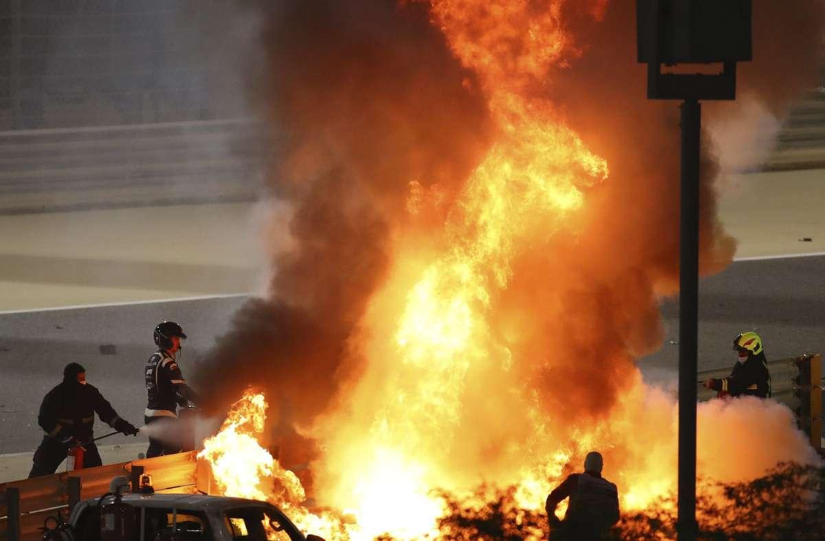 Der Horrorunfall ereignete sich in der ersten Runde des Großen Preises von Bahrain. Foto: dpa/Brynn Lennon