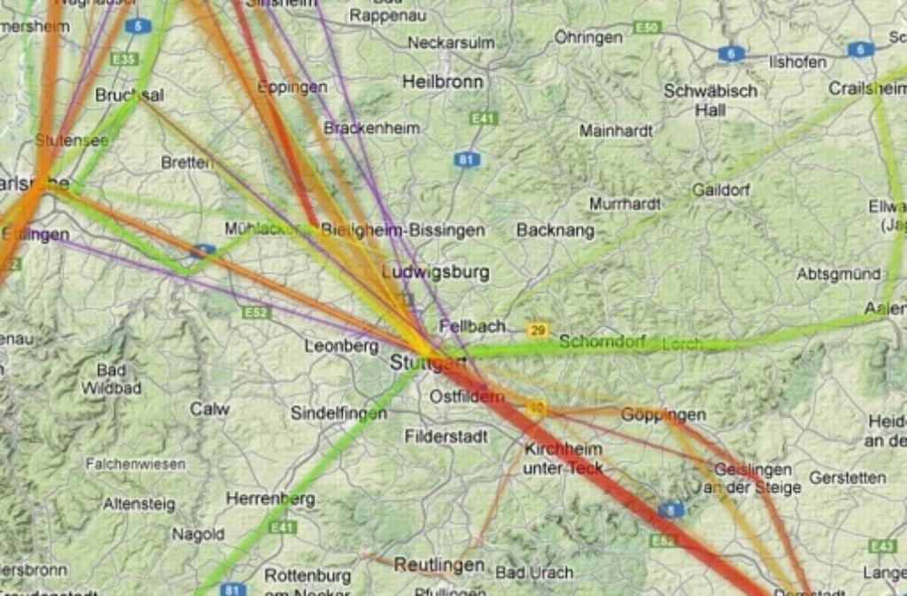 Je mehr rot, desto mehr Verspätungen: Rund um den Bahnknoten Stuttgart fahren Züge oft unpünktlich. Foto: StZ (Screenshot)