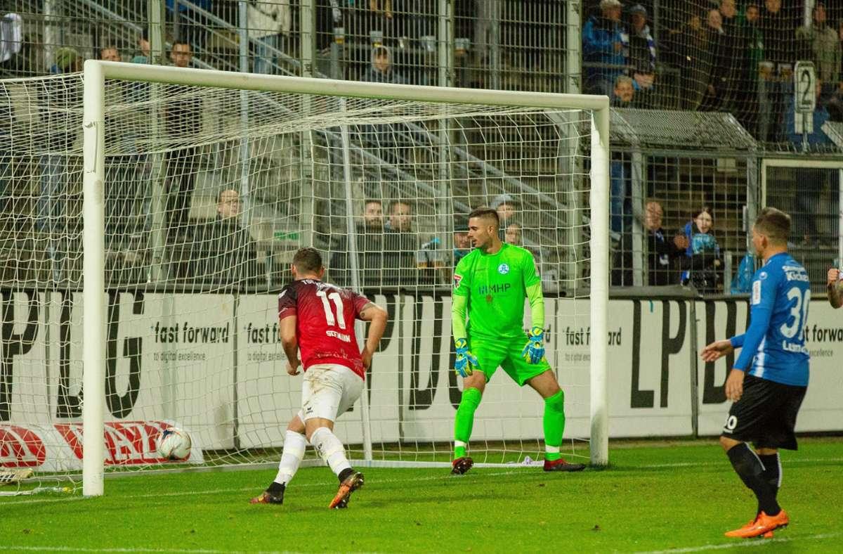 Im Oktober 2019 gab es schon einmal ein Aufeinandertreffen zwischen den Stuttgarter Kickers und der TSG Balingen im WFV-Pokal – die Balinger gewannen im Elfmeterschießen mit 6:5. Foto: imago/Eibner