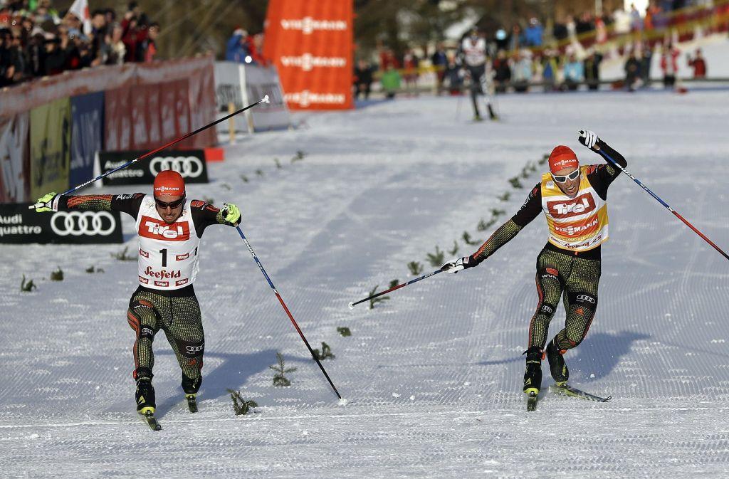 Entscheidung auf den letzten Zentimetern: Die Kombinierer Johannes Rydzek (li.) und Eric Frenzel Foto: AP