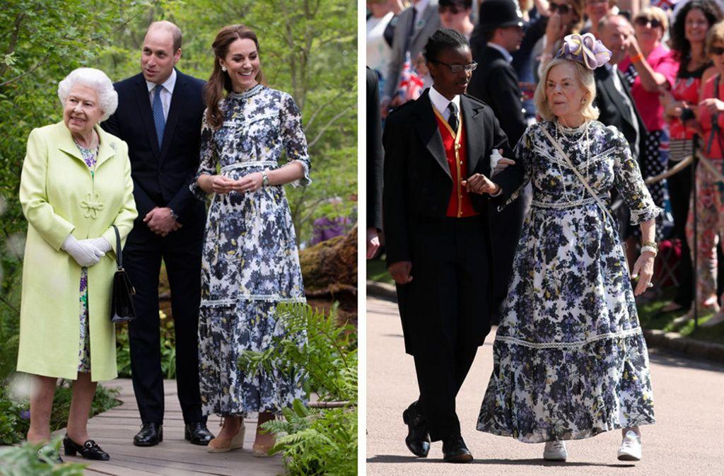 Wem steht's besser mal anders: Herzogin Kate trug das gleiche Erdem-Kleid wie die 86-jährige Herzogin Katherine of Kent (rechts). Foto: dpa