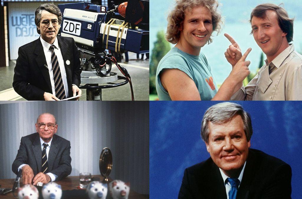 Moderatoren, die Fernsehgeschichte geschrieben haben: Frank Elstner, Thomas Gottschalk (mit Mike Krüger), Wim Thoelke und Robert Lembke (von rechts oben im Uhrzeigersinn). Foto: ZDF, dpa