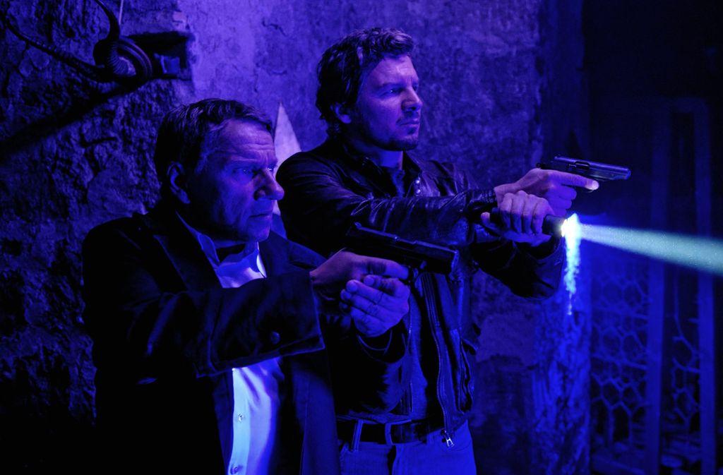Thorsten Lannert (Richy Müller, li.) und Sebastian Bootz (Felix Klare) im Tatort. Foto: