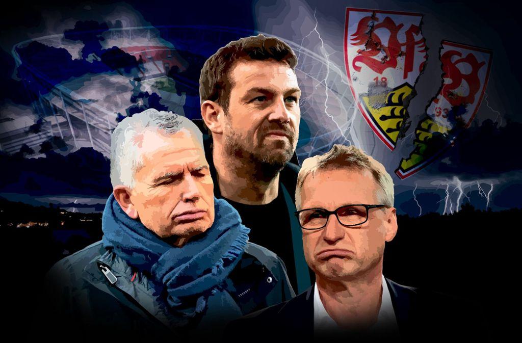 VfB-Präsident Wolfgang Dietrich, Trainer Markus Weinzierl und Manager Michael Reschke (v.li.) sind nun gemeinsam zum Erfolg verdammt. Foto: Ruckaberle