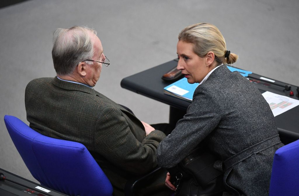 Unter Druck: AfD-Bundestagsfraktionschefs Alice Weidel und Alexander Gauland. Die Großspende aus der Schweiz sollte Weidels Bundestagswahlkampf unterstützen. Foto: dpa