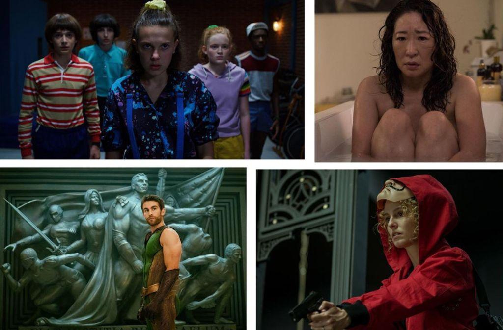 """Serientipps im Juli: """"Stranger Things"""", """"Killing Eve"""", """"Haus des Geldes"""" und """"The Boys"""" (von links oben im Uhrzeigersinn). Weitere Fotos von den interessantesten Serienstarts im Juli finden Sie in unserer Bilderstrecke. Foto: Netflix (2), Starzplay, Amazon"""