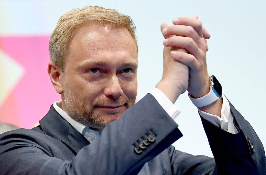 Mit über 86 Prozent wurde Lindner von den Delegierten erneut zum Parteivorsitzenden gewählt. Foto: dpa