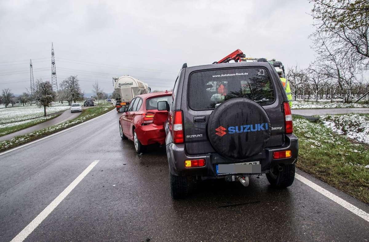 Auffahrunfall auf der Kreisstraße am Montag mit zwei Leichtverletzten Foto: SDMG/Dettenmeyer