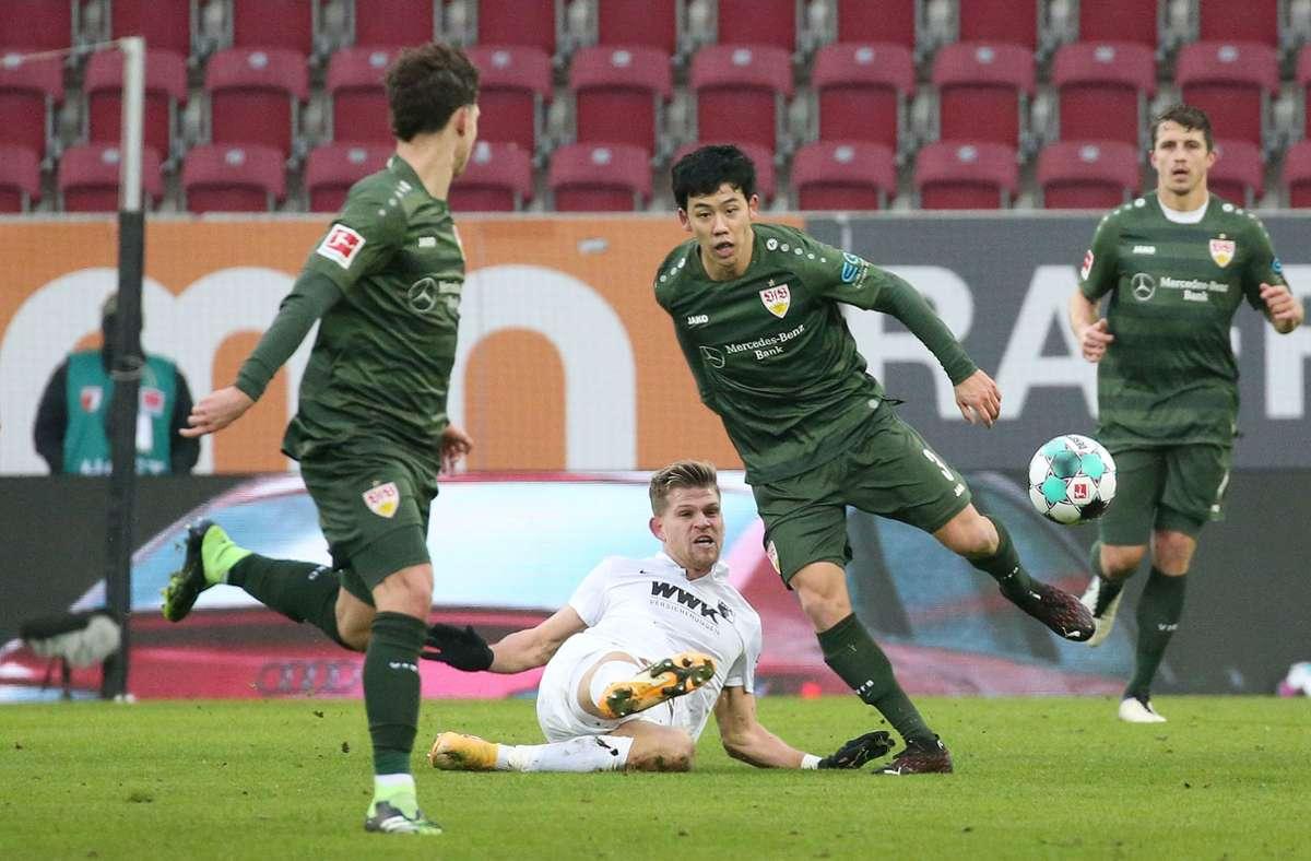 Wataru Endo durfte gegen Augsburg sogar früher vom Platz – in der 90. Minute. Foto: Pressefoto Bauman/Alexander Kepp