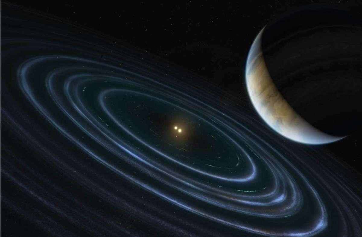 Der in dieser Abbildung  gezeigte Exoplanet HD 106906  befindet sich in einer  Umlaufbahn um einen 336 Lichtjahre von der Erde entfernten Doppelstern. Foto: Nasa/Esa/M. Kornmesser (ESA/Hubble)