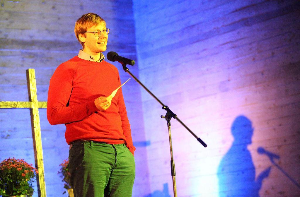 Pfarrer Christian Leidig beim ersten Stuttgarter Preacher Slam in der Cannstatter Steigkirche. Foto:Lichtgut/Jan Reich Foto: