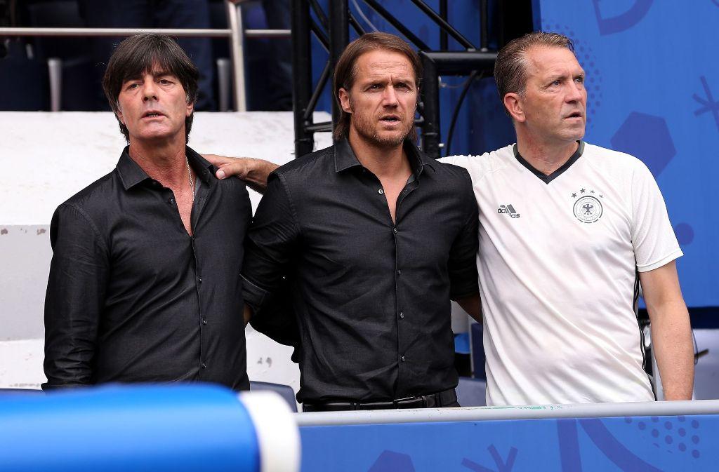Erfolgreiches Trio: Jogi Löw, Thomas Schneider und Andreas Köpke. Foto: Pressefoto Baumann