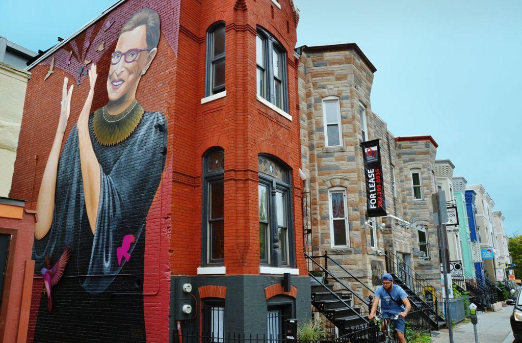 Ruth Bader Ginsburg ist schon auf Häuserwänden verewigt. Foto: Frank Herrmann